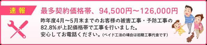 速報 最多契約価格94500円~126000円